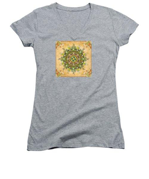 Mandala Flora Women's V-Neck T-Shirt