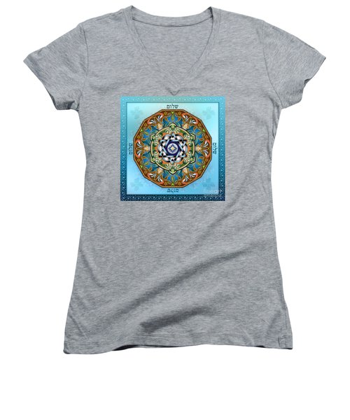 Mandala Shalom Women's V-Neck T-Shirt