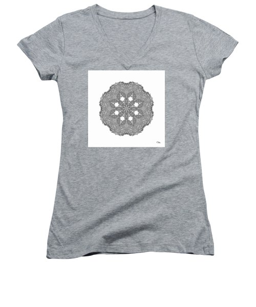 Mandala To Color Women's V-Neck T-Shirt (Junior Cut) by Mo T