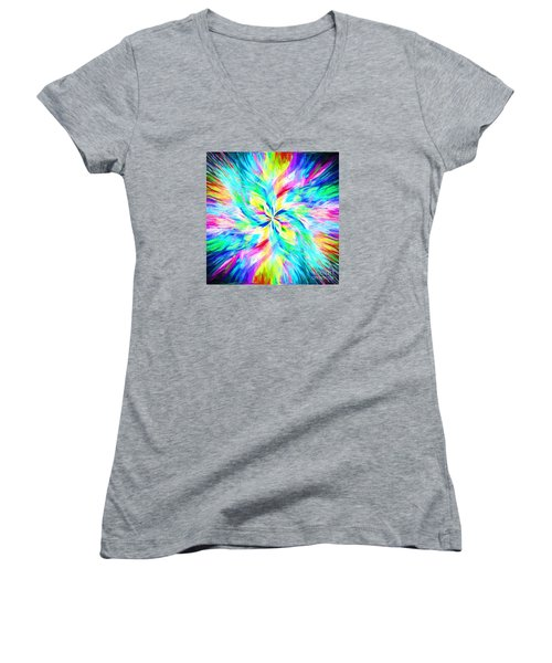 Women's V-Neck T-Shirt (Junior Cut) featuring the photograph Mandala Twirl 03 by Jack Torcello