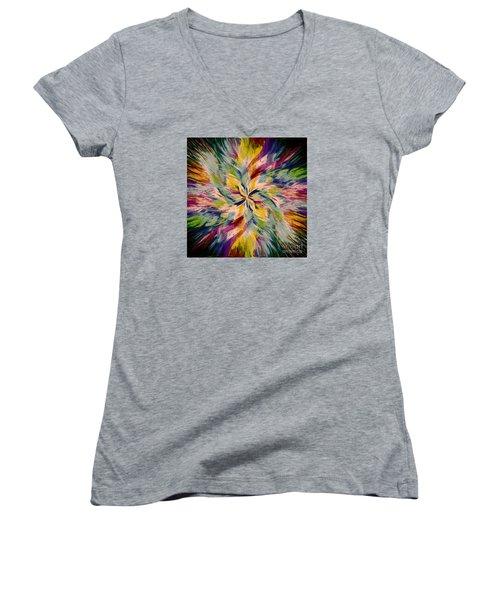 Mandala Twirl 04 Women's V-Neck T-Shirt (Junior Cut) by Jack Torcello