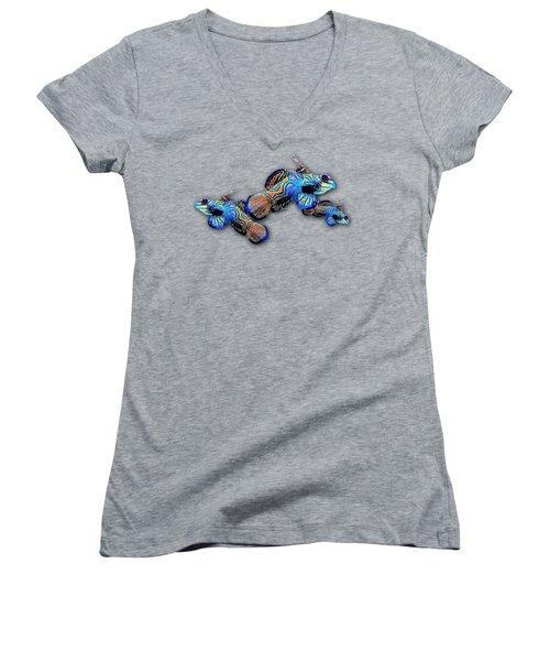 Mandarin Gobies Women's V-Neck T-Shirt (Junior Cut) by Russ Harris