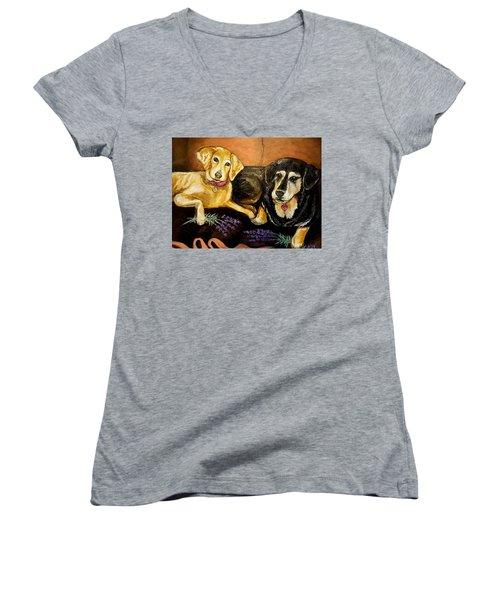 Mandys Girls Women's V-Neck T-Shirt (Junior Cut) by Alexandria Weaselwise Busen