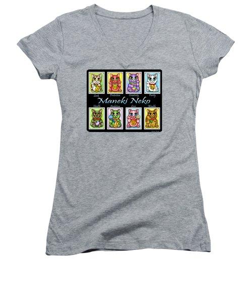 Maneki Neko Luck Cats Women's V-Neck T-Shirt (Junior Cut) by Carrie Hawks
