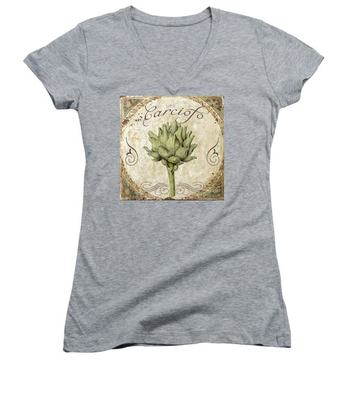 Mangia Carciofo Artichoke Women's V-Neck T-Shirt (Junior Cut) by Mindy Sommers