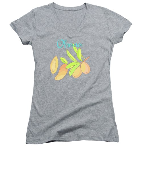 Mango Ohana Tropical Hawaiian Design Of Fruit And Family Women's V-Neck T-Shirt