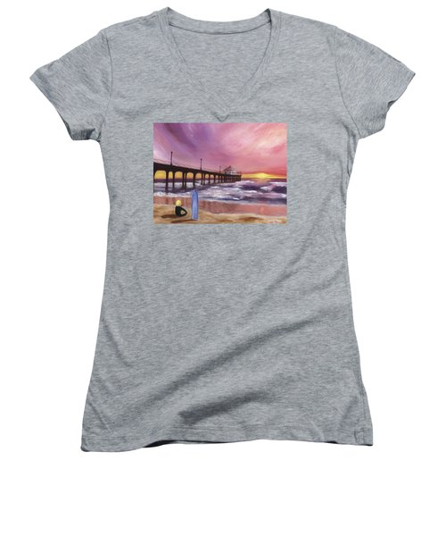 Manhattan Beach Pier Women's V-Neck T-Shirt