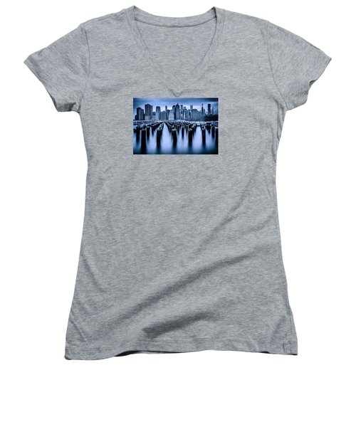 Women's V-Neck T-Shirt (Junior Cut) featuring the photograph Manhattan Blues by Chris Lord