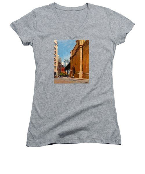 Manhattan Bridge From  Front Street, Brooklyn Women's V-Neck (Athletic Fit)