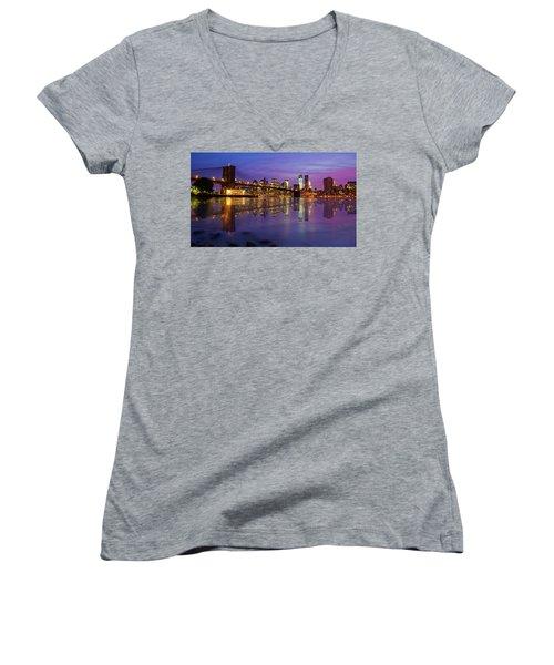Women's V-Neck T-Shirt (Junior Cut) featuring the photograph Manhattan Reflection by Mircea Costina Photography