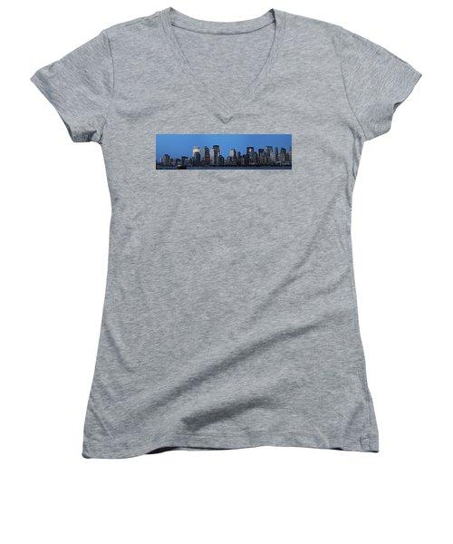 Women's V-Neck T-Shirt (Junior Cut) featuring the photograph Manhattan Skyline by John Haldane