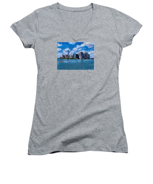 Women's V-Neck T-Shirt (Junior Cut) featuring the digital art Manhattan Skyline by Kai Saarto