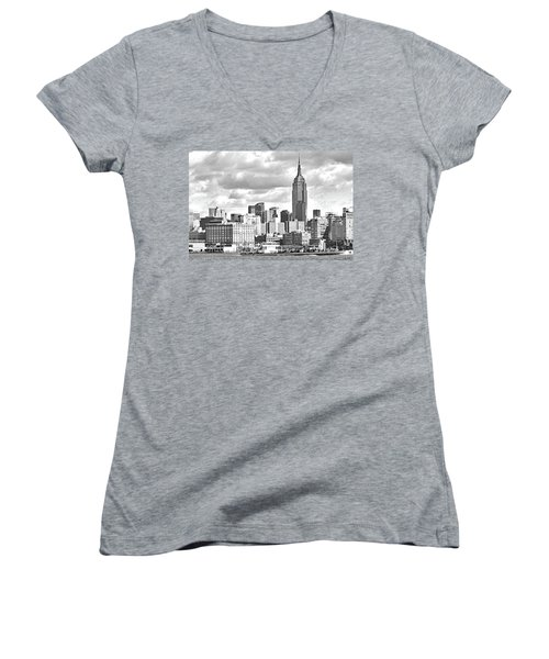 Manhattan Skyline No. 7-2 Women's V-Neck T-Shirt