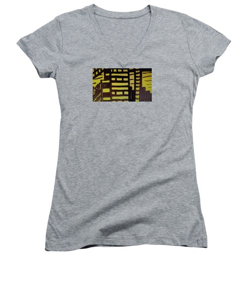 Women's V-Neck T-Shirt (Junior Cut) featuring the painting Manhattan Sunrise 2 by Don Koester