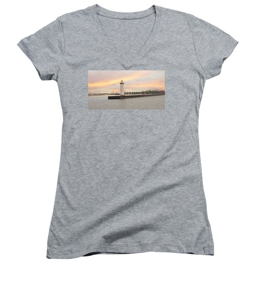 Manistee North Pierhead Lighthouse Women's V-Neck T-Shirt