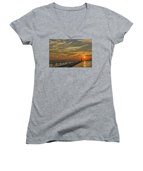 Manistee North Pierhead Lighthouse Women's V-Neck (Athletic Fit)
