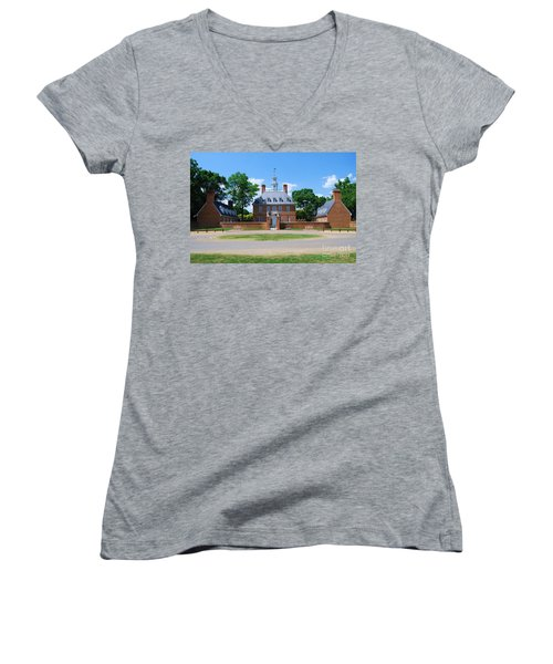 Women's V-Neck T-Shirt (Junior Cut) featuring the photograph Mansion by Eric Liller