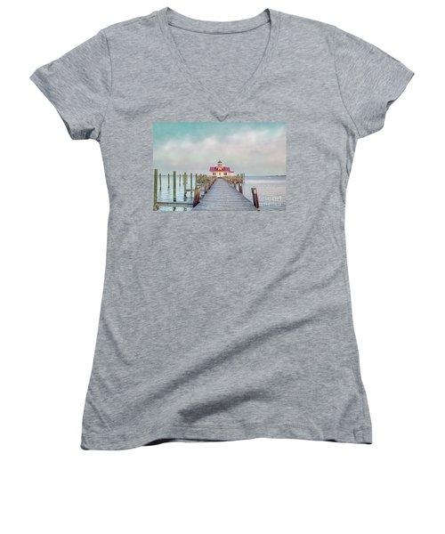Manteo Lighthouse Women's V-Neck T-Shirt (Junior Cut) by Marion Johnson