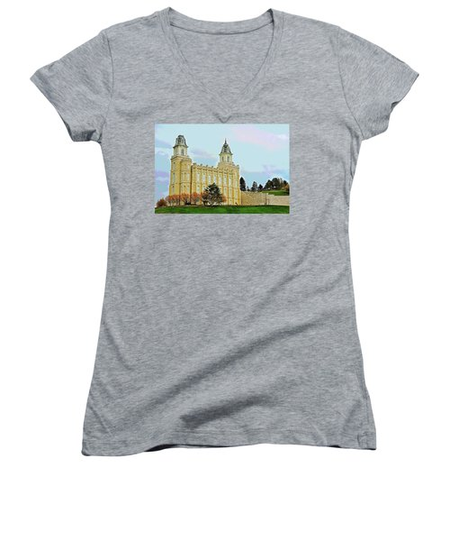 Manti Temple Women's V-Neck (Athletic Fit)