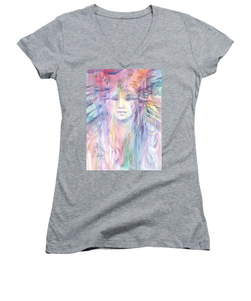 Women's V-Neck featuring the painting Many Moons Ago by Carolyn Utigard Thomas