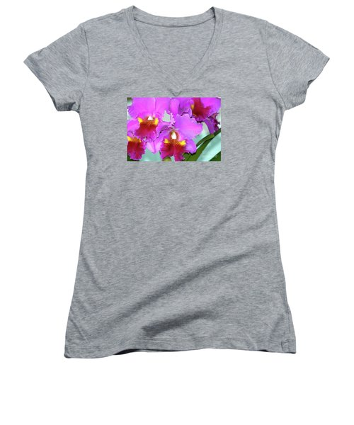 Women's V-Neck T-Shirt (Junior Cut) featuring the photograph Many Purple Orchids by Lehua Pekelo-Stearns