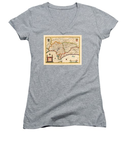Map Of Andalusia 1650 Women's V-Neck T-Shirt (Junior Cut) by Andrew Fare