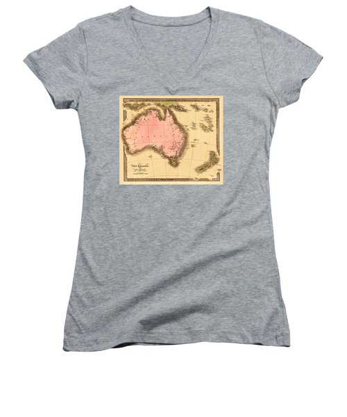 Map Of Australia 1840 Women's V-Neck T-Shirt (Junior Cut) by Andrew Fare
