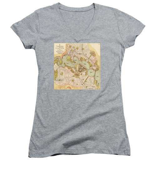 Map Of Canberra 1913 Women's V-Neck T-Shirt (Junior Cut) by Andrew Fare