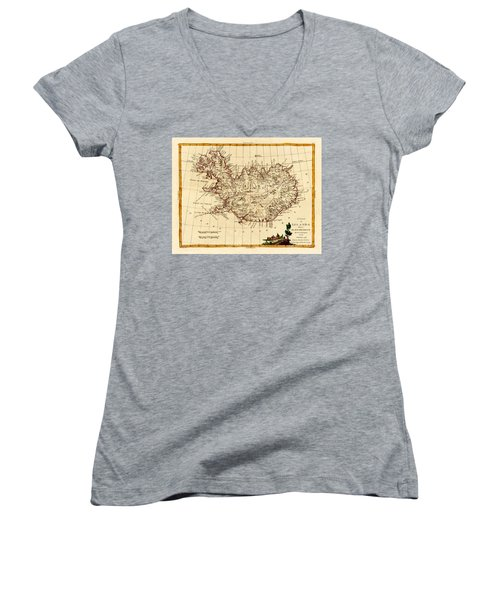 Map Of Iceland 1791 Women's V-Neck T-Shirt (Junior Cut) by Andrew Fare