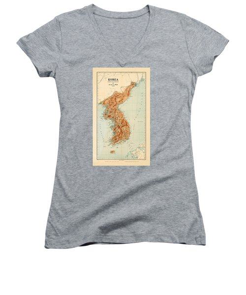 Map Of Korea 1903 Women's V-Neck T-Shirt (Junior Cut) by Andrew Fare