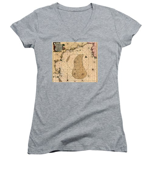 Map Of New England 1700 Women's V-Neck T-Shirt (Junior Cut) by Andrew Fare