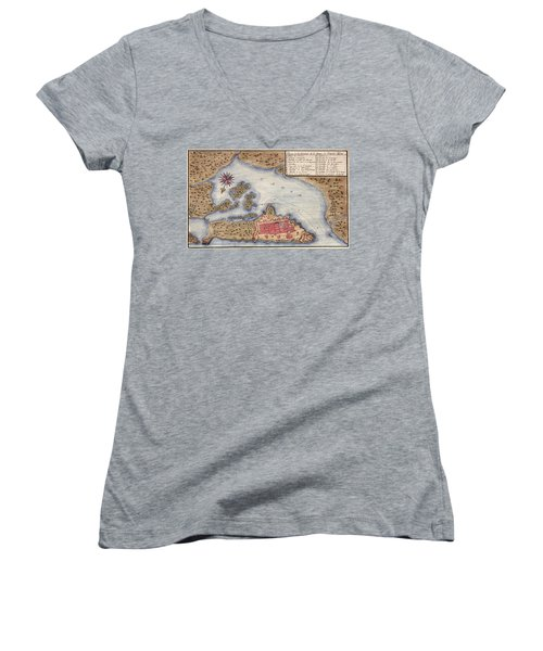 Map Of San Juan 1770 Women's V-Neck T-Shirt (Junior Cut) by Andrew Fare