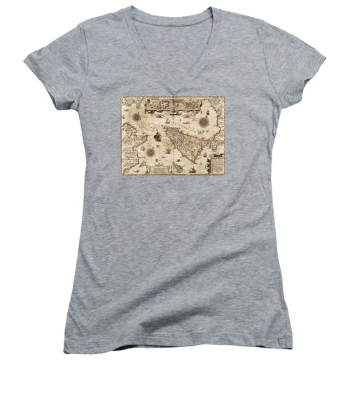 Map Of Sicily 1594 Women's V-Neck T-Shirt (Junior Cut) by Andrew Fare