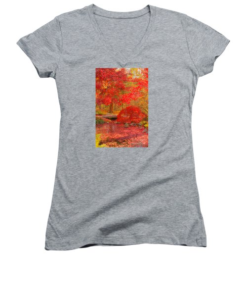 Women's V-Neck T-Shirt (Junior Cut) featuring the photograph Maple Bridge by Geraldine DeBoer