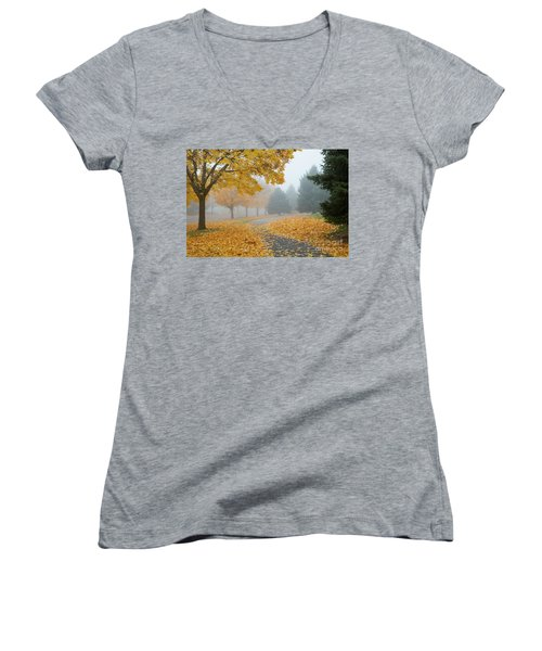 Maple Leaf Path Women's V-Neck (Athletic Fit)