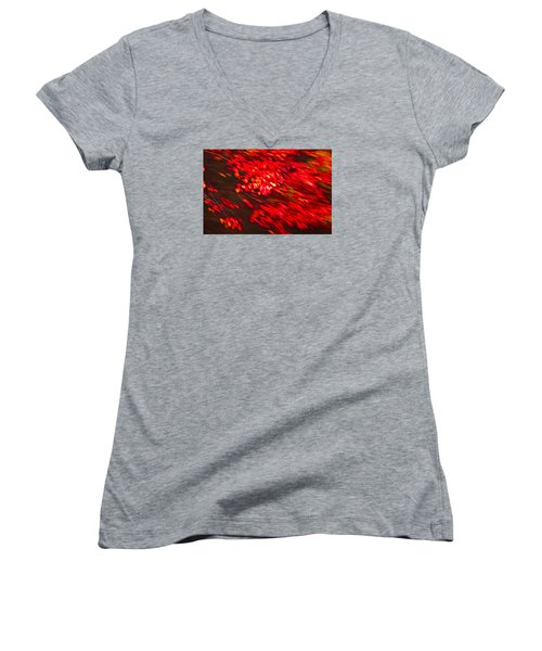 Maple Red Abstract Women's V-Neck (Athletic Fit)
