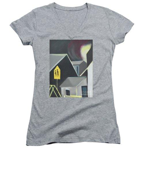 Maplewood Crossing Women's V-Neck T-Shirt (Junior Cut) by Ron Erickson