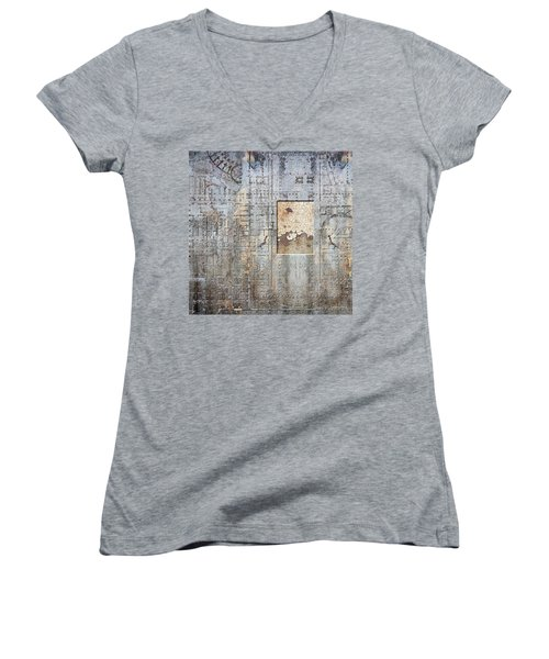 Maps #18 Women's V-Neck T-Shirt (Junior Cut) by Joan Ladendorf