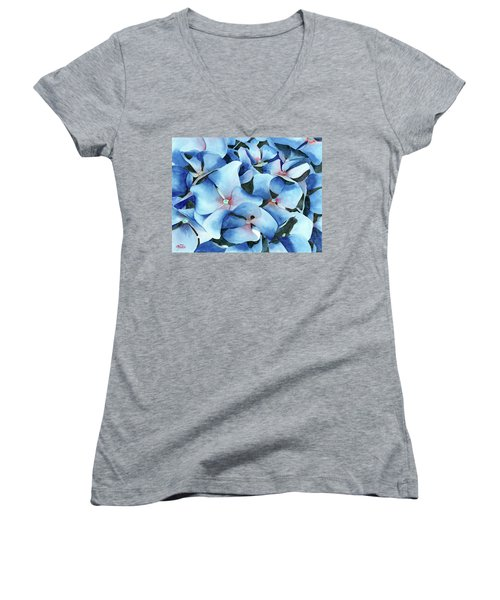Marathon Hydrangeas Women's V-Neck T-Shirt