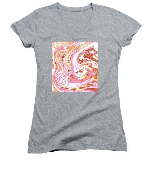 Marble And Rose Gold Dust Women's V-Neck T-Shirt