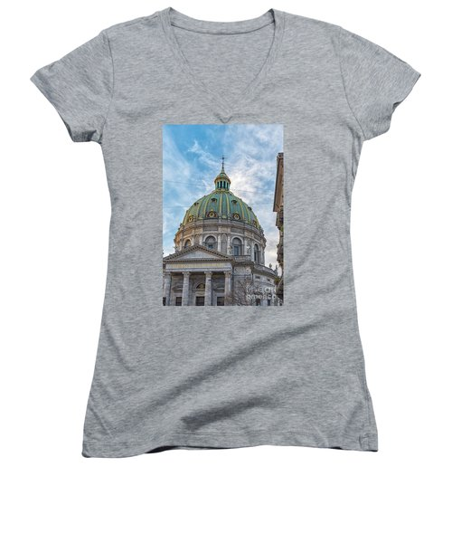 Women's V-Neck T-Shirt (Junior Cut) featuring the photograph Marble Church In Copenhagen by Antony McAulay