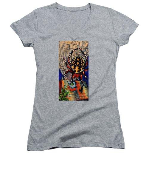 Marbled Orbweaver Women's V-Neck T-Shirt (Junior Cut) by Emily McLaughlin