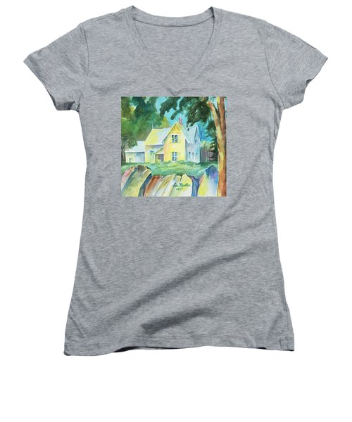Marblehead Cottage Women's V-Neck T-Shirt (Junior Cut) by Lee Beuther