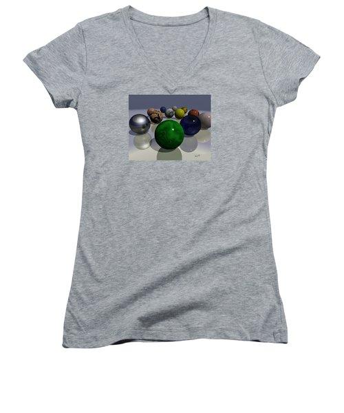 Marbles Women's V-Neck T-Shirt