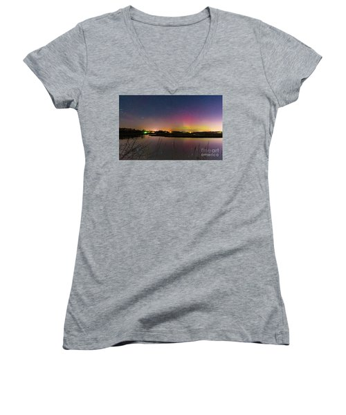 March 6 Aurora Over Scarborough Marsh  Women's V-Neck T-Shirt