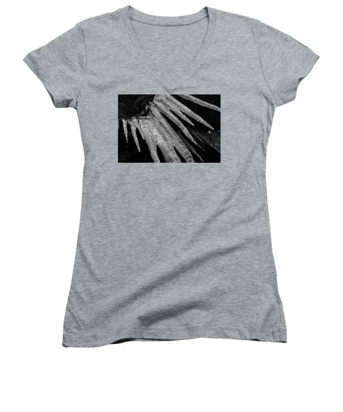 Women's V-Neck T-Shirt (Junior Cut) featuring the photograph March Icicles 3 by Mike Eingle