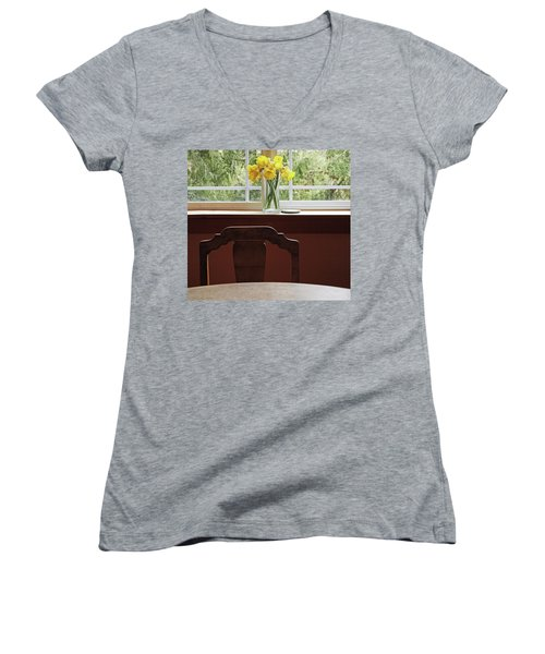 Women's V-Neck T-Shirt (Junior Cut) featuring the photograph March by Laurie Stewart