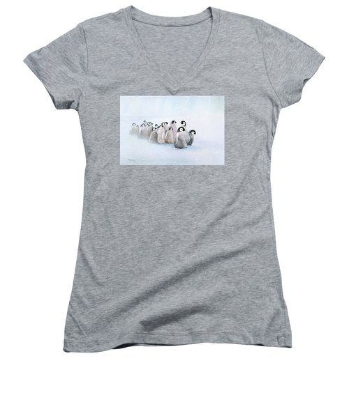 March Of The Penguins Women's V-Neck T-Shirt