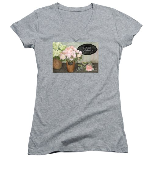 Women's V-Neck T-Shirt featuring the painting Marche Aux Fleurs 2 - Peonies N Hydrangeas W Bird by Audrey Jeanne Roberts