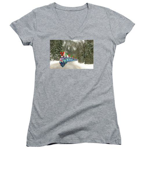 Marching Ornaments Chili Peppers Women's V-Neck